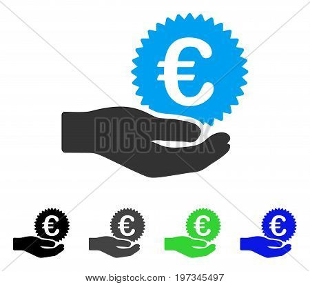 Euro Coin Offer Hand flat vector icon. Colored euro coin offer hand gray, black, blue, green icon versions. Flat icon style for application design.