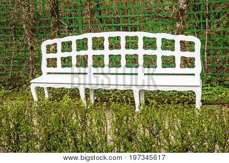 white bench on green garden park of Linderhof Palace, Schloss, Germany, Bavaria