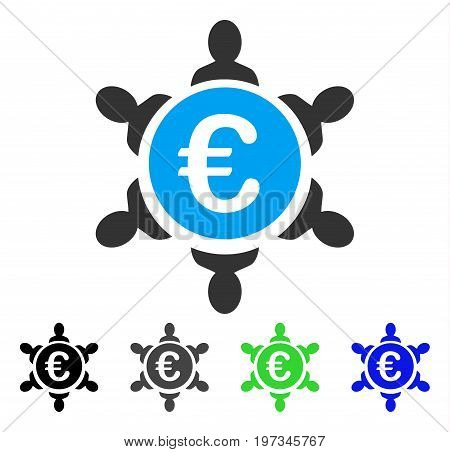 Euro Collaboration flat vector icon. Colored euro collaboration gray, black, blue, green pictogram variants. Flat icon style for web design.