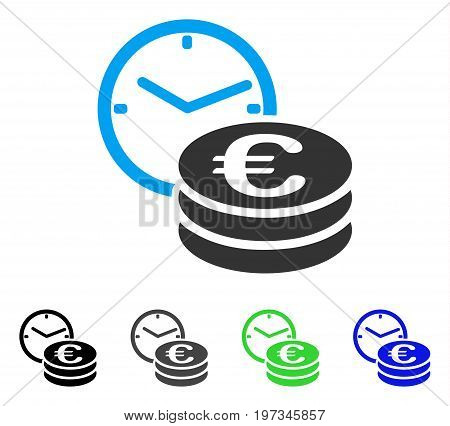 Euro Credit flat vector illustration. Colored euro credit gray, black, blue, green icon variants. Flat icon style for application design.