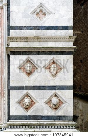 Marble Column Of Cathedral Exterior In Siena