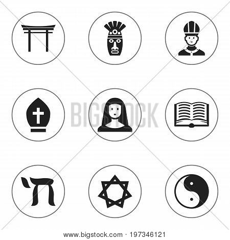 Set Of 9 Editable Dyne Icons. Includes Symbols Such As Pope Headwear, Om Aum, Shaman And More