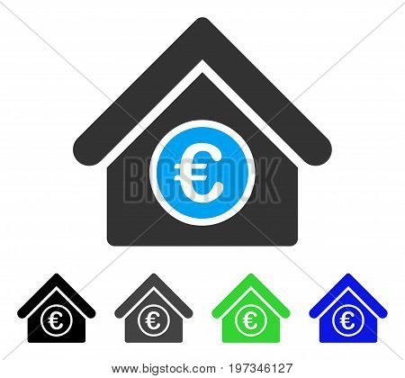 Euro Financial Center flat vector illustration. Colored euro financial center gray, black, blue, green pictogram variants. Flat icon style for web design.
