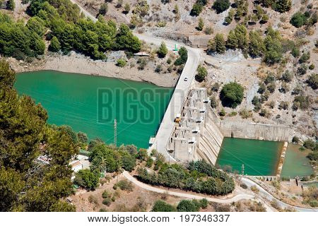 Aerial view at Hydroelectric power station and dum with car on it El Chorro Malaga Spain