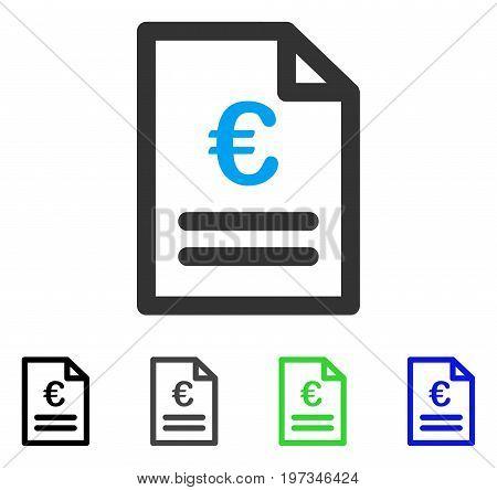Euro Invoice flat vector icon. Colored euro invoice gray, black, blue, green icon versions. Flat icon style for graphic design.