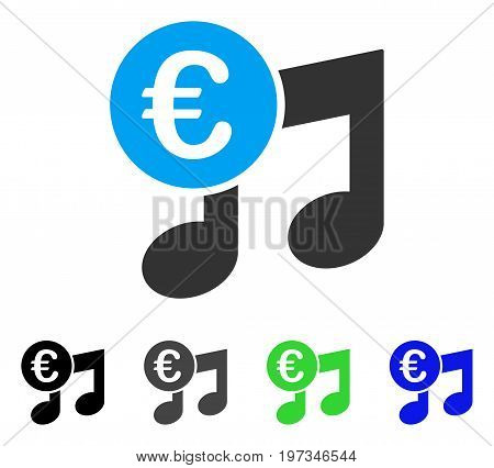 Euro Music Notes flat vector icon. Colored euro music notes gray, black, blue, green pictogram variants. Flat icon style for application design.