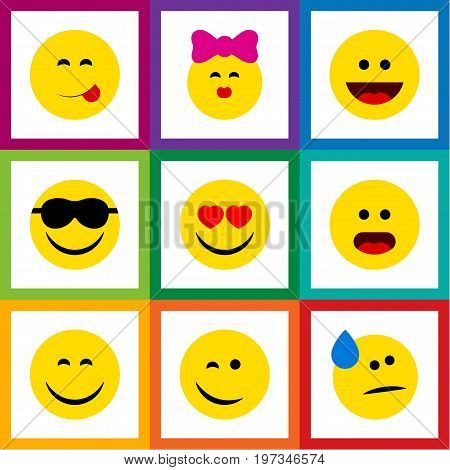 Flat Icon Gesture Set Of Smile, Love, Delicious Food And Other Vector Objects