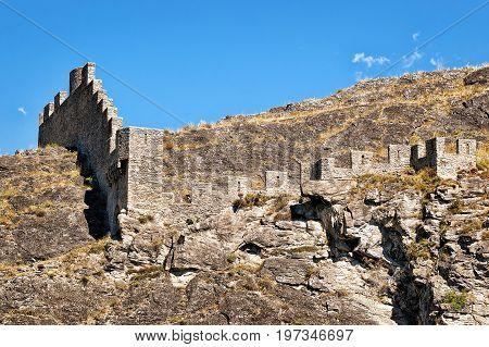 Tourbillon Castle And Landscape Of Sion Capital Valais Switzerland