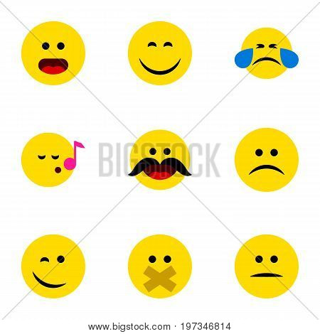 Flat Icon Expression Set Of Hush, Cold Sweat, Cheerful And Other Vector Objects