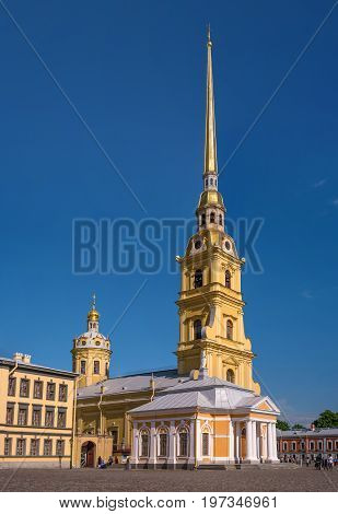 The Cathedral of Peter and Paul in the Peter and Paul fortress.The height of the spire is 122 meters. It is the tallest architectural structure in St. Petersburg. In the foreground is the boat house.