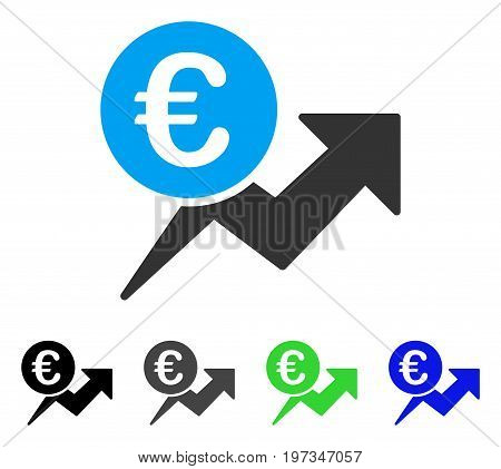 Euro Sales Growth flat vector illustration. Colored euro sales growth gray, black, blue, green pictogram variants. Flat icon style for web design.