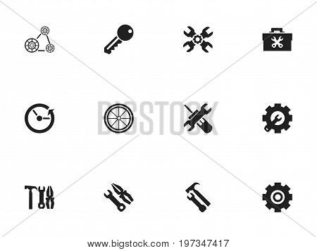 Set Of 12 Editable Mechanic Icons. Includes Symbols Such As Instrument, Time, Wrench Repair And More