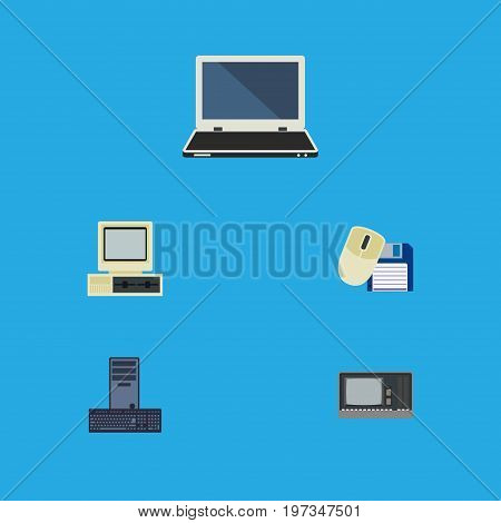 Flat Icon Computer Set Of Computer Mouse, Processor, Computer And Other Vector Objects