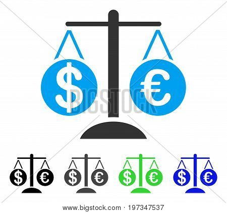Forex Market Scales flat vector illustration. Colored forex market scales gray, black, blue, green icon versions. Flat icon style for application design.