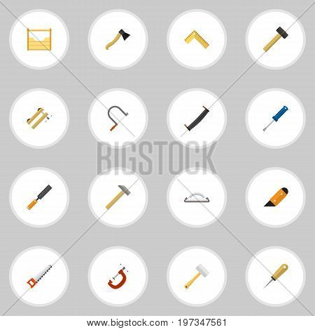 Set Of 16 Editable Tools Flat Icons. Includes Symbols Such As Malleus, Clamp, Saw And More