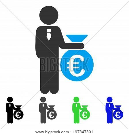 Euro Banker flat vector illustration. Colored euro banker gray, black, blue, green pictogram variants. Flat icon style for graphic design.