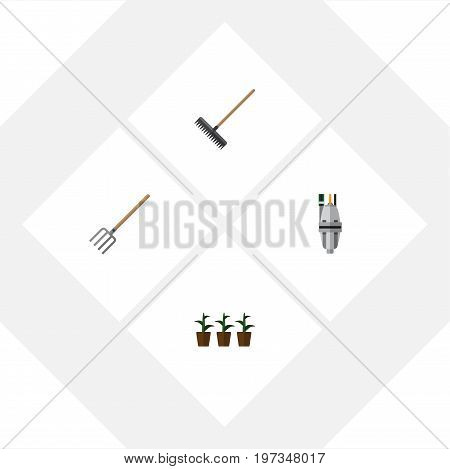 Flat Icon Garden Set Of Flowerpot, Pump, Hay Fork And Other Vector Objects