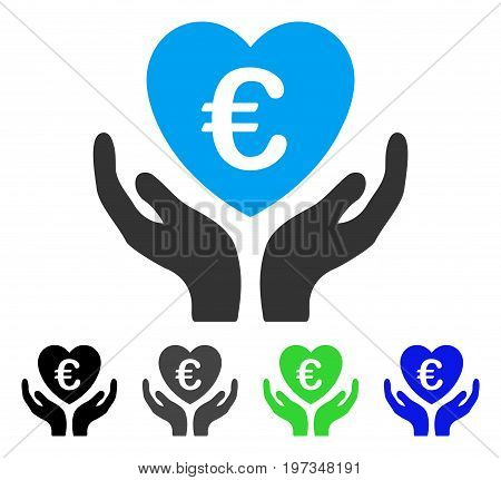 Euro Care Hands flat vector icon. Colored euro care hands gray, black, blue, green icon versions. Flat icon style for application design.
