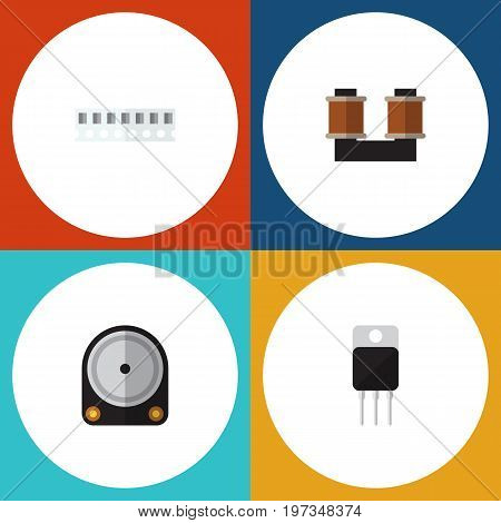 Flat Icon Appliance Set Of Memory, Hdd, Receiver And Other Vector Objects