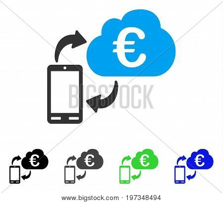 Euro Cloud Banking flat vector pictogram. Colored euro cloud banking gray, black, blue, green icon versions. Flat icon style for application design.