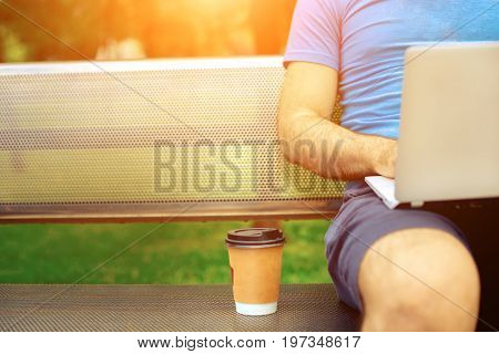 Freelance work.Casual dressed man sitting at wooden beanch inside garden working on computer.. Sun flare