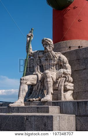 St. Petersburg. South rostral column. The male figure allegorically represents the Dnieper River. Earlier rostral column represented the Navy and served as a beacon of glory.