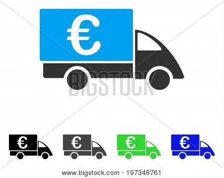 Euro Collector Car flat vector illustration. Colored euro collector car gray, black, blue, green icon versions. Flat icon style for web design.