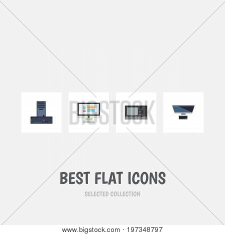 Flat Icon Laptop Set Of PC, Vintage Hardware, Processor And Other Vector Objects