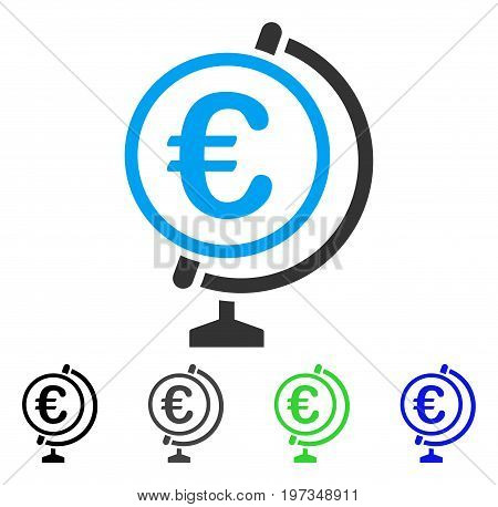 Euro Globe flat vector illustration. Colored euro globe gray, black, blue, green icon variants. Flat icon style for web design.