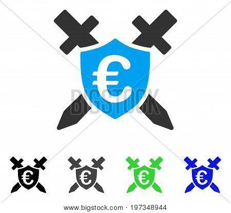 Euro Guard Shield flat vector icon. Colored euro guard shield gray, black, blue, green pictogram variants. Flat icon style for web design.