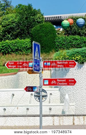 Lausanne Switzerland - August 26 2016: Bicycle street signs of cities at Lausanne Switzerland.
