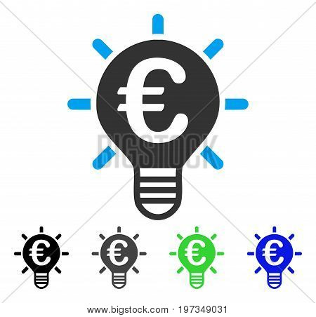 Euro Innovation flat vector pictograph. Colored euro innovation gray, black, blue, green pictogram versions. Flat icon style for web design.
