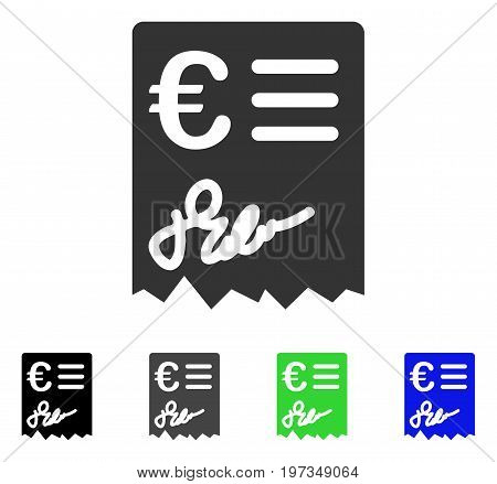 Euro Invoice flat vector pictogram. Colored euro invoice gray, black, blue, green pictogram versions. Flat icon style for web design.