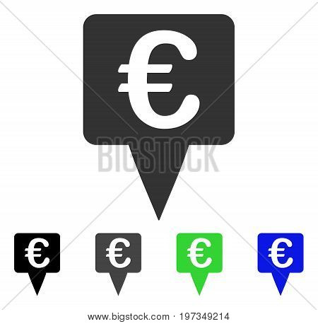 Euro Map Pointer flat vector illustration. Colored euro map pointer gray, black, blue, green pictogram variants. Flat icon style for web design.