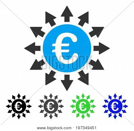 Euro Payments flat vector pictograph. Colored euro payments gray, black, blue, green pictogram versions. Flat icon style for application design.