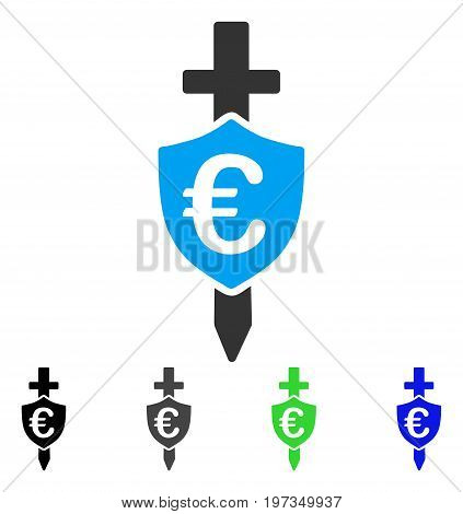 Euro Shield flat vector illustration. Colored euro shield gray, black, blue, green pictogram variants. Flat icon style for application design.