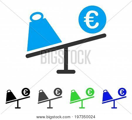 Euro Trade Swing flat vector illustration. Colored euro trade swing gray, black, blue, green icon variants. Flat icon style for application design.