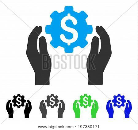 Banking Maintenance Hands flat vector pictogram. Colored banking maintenance hands gray, black, blue, green pictogram variants. Flat icon style for web design.