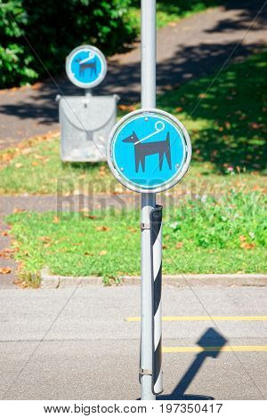 Dog poop sign in Lausanne of Switzerland.