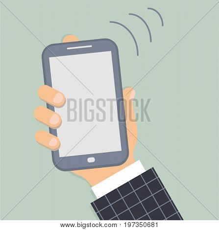 Mobile phone in the male hand. Smartphone in hand of businessman. Sleeve white shirt and a blue suit in light blue plaid. Three lines symbolize the call. Vector illustration.