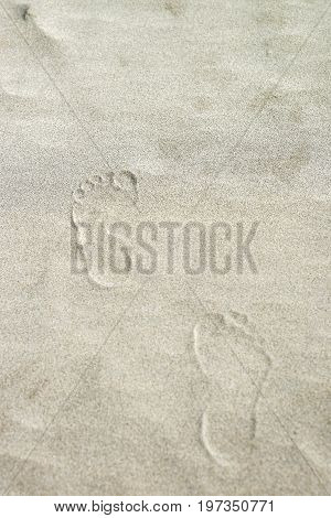 Footprints on the sand at coastline in Danang Vietnam