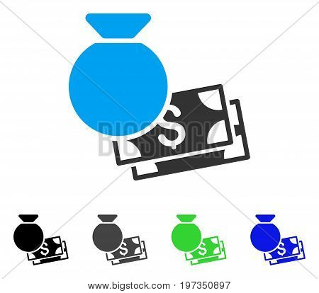 Money Bag flat vector pictograph. Colored money bag gray, black, blue, green pictogram versions. Flat icon style for application design.