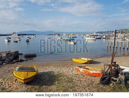 Two Yellow Boats  And One Orange Boat In Marina - Port In Vibo Marina In South Italy