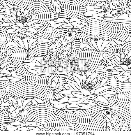 Adult antistress coloring page with water lily and the frog - seamless pattern. Cards with lotus leaves. Can be used for Invitation to the wedding or background.