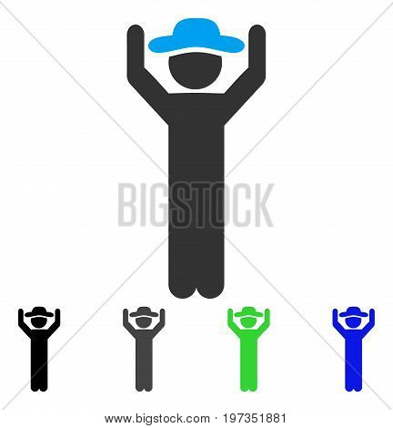 Gentleman Hands Up flat vector pictograph. Colored gentleman hands up gray, black, blue, green pictogram variants. Flat icon style for graphic design.