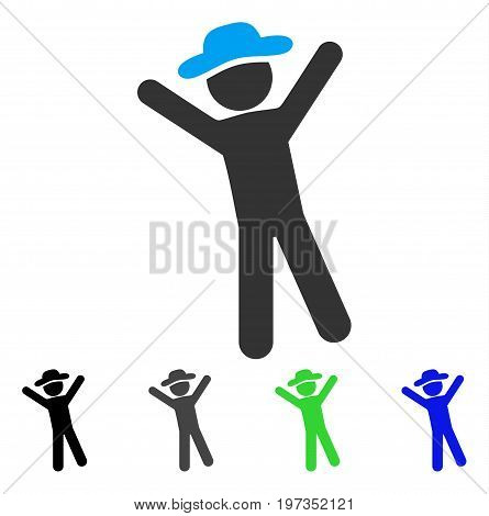 Gentleman Joy flat vector pictograph. Colored gentleman joy gray, black, blue, green icon versions. Flat icon style for web design.