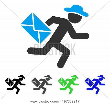 Gentleman Mail Courier flat vector pictograph. Colored gentleman mail courier gray, black, blue, green icon versions. Flat icon style for web design.