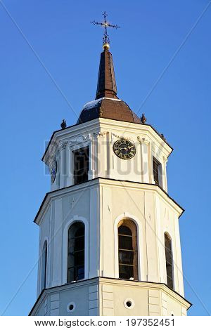 Belfry at Old town in Vilnius Lithuania.