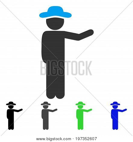 Gentleman Show flat vector pictograph. Colored gentleman show gray, black, blue, green icon versions. Flat icon style for graphic design.