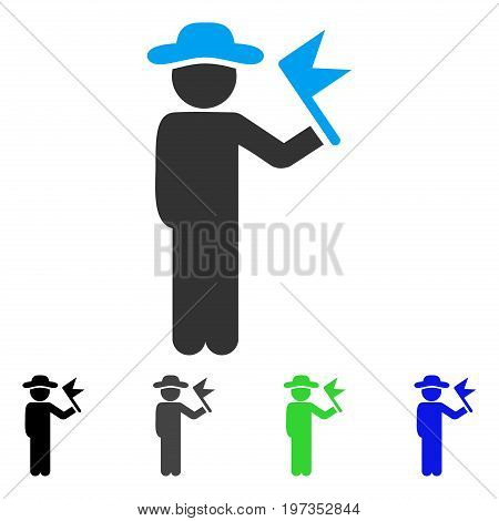 Gentleman With Flag flat vector icon. Colored gentleman with flag gray, black, blue, green icon variants. Flat icon style for graphic design.